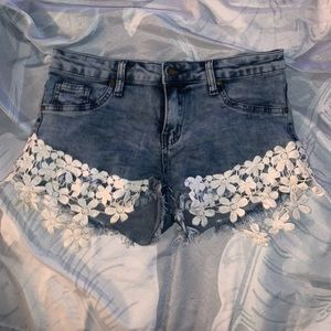 Distressed Floral Lace Denim Jean Shorts